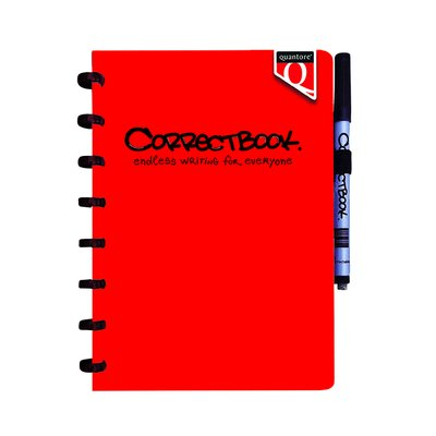 Notitieboek Correctbook uitwisbaar en herbruikbaar Quantore A5 rood lijn 40blz