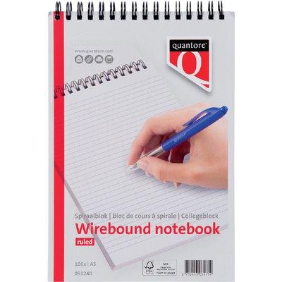 Schrijfblok Quantore A5 lijn kopspiraal 70gr